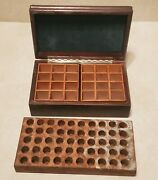 Antique Vintage Wood Vial Medical Storage Boxes - Round Square Cube Inserts Lot