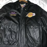 Nba Champions Los Angeles Lakers Patch Leather Jacket Jeff Hamilton