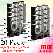 20 Pk Compatible For Dymo 53710 Black On Clear Labelmanager 360d 420p 500ts/450d