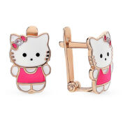 New Earrings Kids Russian Solid Rose Gold 14k 585 + Cz Childrens Hello Kitty