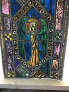 Antique German Stained Glass Church Angel Window From A Closed Church - X8