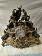 Antique French Clock With Knights In Armor. About 18in. H 17andfrac12in W. 4in. Depth