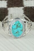 Turquoise And Sterling Silver Bracelet - Raymond Delgarito