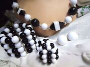 Sixties Bold Black White Lucite Bead Necklace Wide Bracelet 2 Pair Clip Earrings
