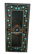 4and039 X 2and039 Black Marble Dining Coffee Table Top Semi Precious Inlay Home Decorative
