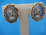 Antique Miniature Painting Of Young Women Mirrow Image Earrings, 14k Gold Frame