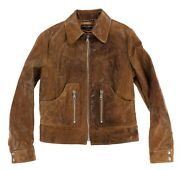 Dolce And Gabbana Womens Lamb Leather Zip Detail Motorcycle Jacket Size 46