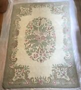 Vintage Occupied Japan Hand Woven Hooked Rug Floral Wool Yarn 74 X 47 1/4 Rr3