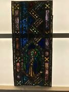 Antique German Stained Glass Church Angel Window From A Closed Church - V6