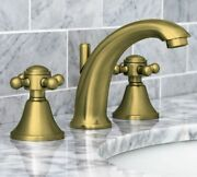 Pottery Barn Warby Cross-handle Widespread Bathroom Faucet Antique Brass Finish