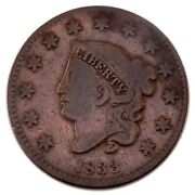 1833 Large Cent Very Good Vg Condition, Brown Color, Bold + Clear Liberty