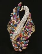 Designer Multicolor Gemstone Peacock Ring / 14k / See Our Levian And Effy Items