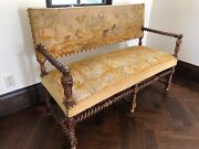 Antique Needlepoint Settee/bench