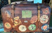 Vintage 30andrsquos Belted Leather Travel Sticker Valise Luggage Journal/diary Include