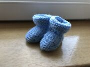 New - Hand Knitted Baby Bootees - Blue Fleck - Newborn
