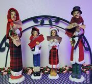 Christmas Carolers Family Lot Of 4, Classic Look Similar To Byers Choice