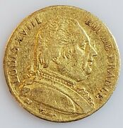 1814-a France Gold 20 French Francs Louis Xviii In Vf Condition