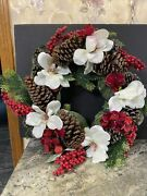 22andrdquo Iced Frosted Pinecone Hydrangea Magnolia Wreath Green Valerie Parr Hill Ac