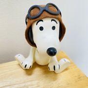 Vintage Posable Plastic Peanuts Snoopy Red Baron Dog Aviator Pilot Toy 1966