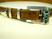 Frank Patania Thunderbird Ranger Belt Buckle Persian Turquoise Sterling Silver