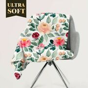 Personalized Pastel Blossom Floral Throw Blanket Custom Fleece Sherpa Throw