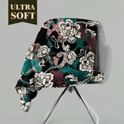 Personalized Rococo Roses Floral Throw Blanket Custom Fleece Sherpa Throw