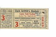 1933 Washington Senators-giants World Series Ticket Stub Game 3 Sens Only Win