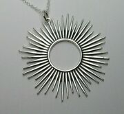 Spiked Sun Necklace - Celestial Pendant - Pointed Rays - 925 Sterling Silver