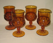 4 Vintage Amber Indiana Glass Kings Crown Thumb Print Goblets