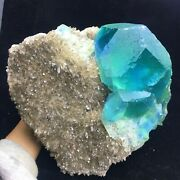 10690g Rare Larger Particles Blue/green Fluorite Crystal And Clear Quartz Specime