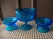 Antique Vtg Electric Blue Eagle Compote And Candle Sconce Set