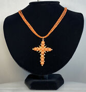 Antique Victorian Salmon Sciacca Coral Seed Pearl Cross 14k Rose Gold Necklace