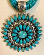 Leo Feeney Sterling Silver Large Turquoise Pendant Necklace