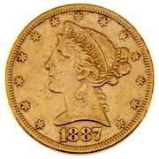 1887-s 5 Gold Liberty Half Eagle Us Coin In Xf Condition
