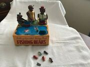 Three Bears Fishing Bank Very Vintage/super Rare 1950's Made In Japan Tin Toy