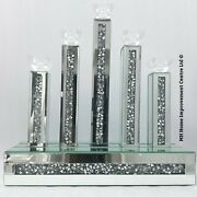 Diamond Crush Crystal Sparkly Silver Mirrored 5 Dinner Candle Holder Large Taper