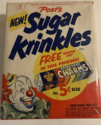 Vintage Box Of Postandrsquos Sugar Krinkles Cereal 1950s Nos Unopened Full Clown Sealed