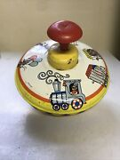 Vtg Ohio Art Metal Spinning Top Circus Train Animals In Cages Lionelephantbear