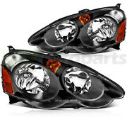 Headlight Assembly Set For Acura Rsx 2002-2004 Replacement Pair Black Housing
