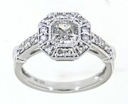 Solid Real Natural Cushion Diamond 14k White Gold 1.32ct Ring Jewelry For Women