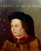 Portrait Of Charles V Of France. Oil On Wood. Flamish School. France. Xvith