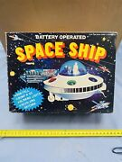 Space Ship Tin Toy Ufo Made In Hong Kong Vintage Rare