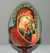 10, Hand-painted Russian Orthodox Icon Our Lady Of Kazan On Wooden Egg