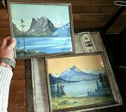 Pair Of Vintage Watercolor / Pastel Paintings Signed Wing And Framed 12 By 10