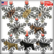 Pewter Schnauzer Snowflake Christmas Tree Ornaments, Made In The Usa