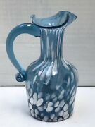 Vintage Rainbow Glass Co Wv 4 1/2andrdquo Blue White Pitcher Speckled Mottled Label Exc