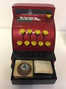 Vintage Ring-a-ding Toy Cash Register With Original Box And Play Money