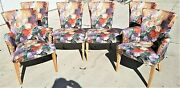 Set Of 6 Contemporary Floral Print Upholstered Klismos Leg Dining Chairs