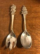 Wallace Silverplate Christmas Salad Serving Spoon And Fork Santa Claus And Tree