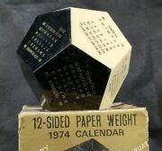 Vtg 12-sided 1974 Dodecagon Desk Calendar Paperweight Not A Reproduction In Box